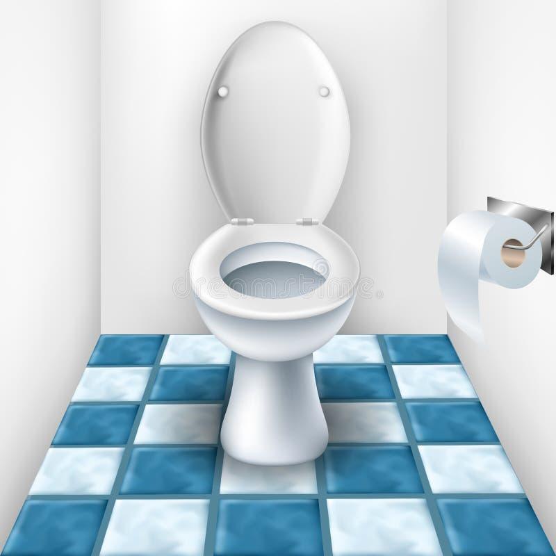 Λουτρό με την τουαλέτα και το σχέδιο κεραμιδιών Διανυσματική ...