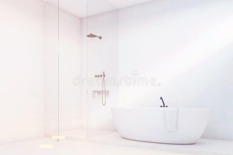 Λουτρό πολυτέλειας με τον τοίχο γυαλιού, γωνία, που τονίζεται απεικόνιση αποθεμάτων