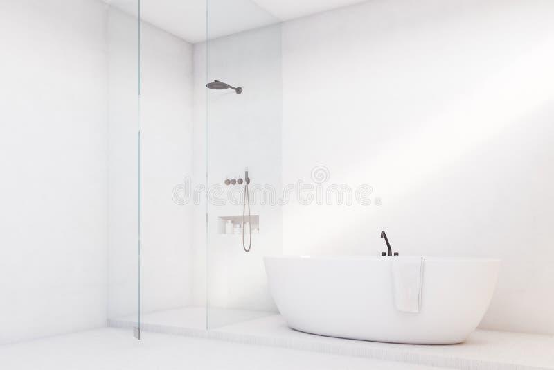 Λουτρό πολυτέλειας με τον τοίχο γυαλιού, γωνία απεικόνιση αποθεμάτων