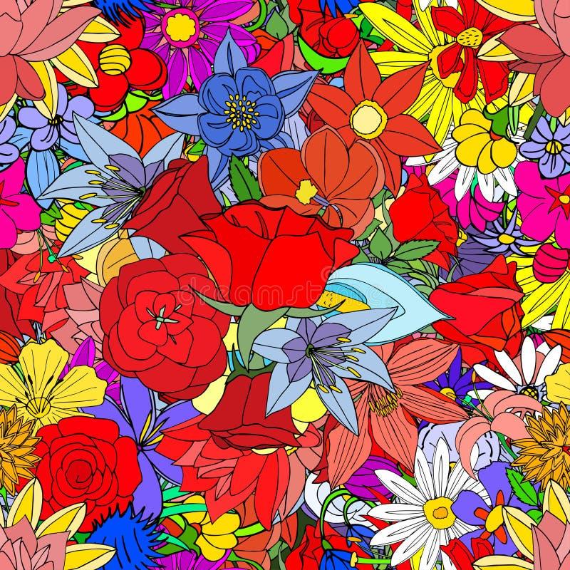 Λουλούδια, άνευ ραφής σχέδιο διανυσματική απεικόνιση