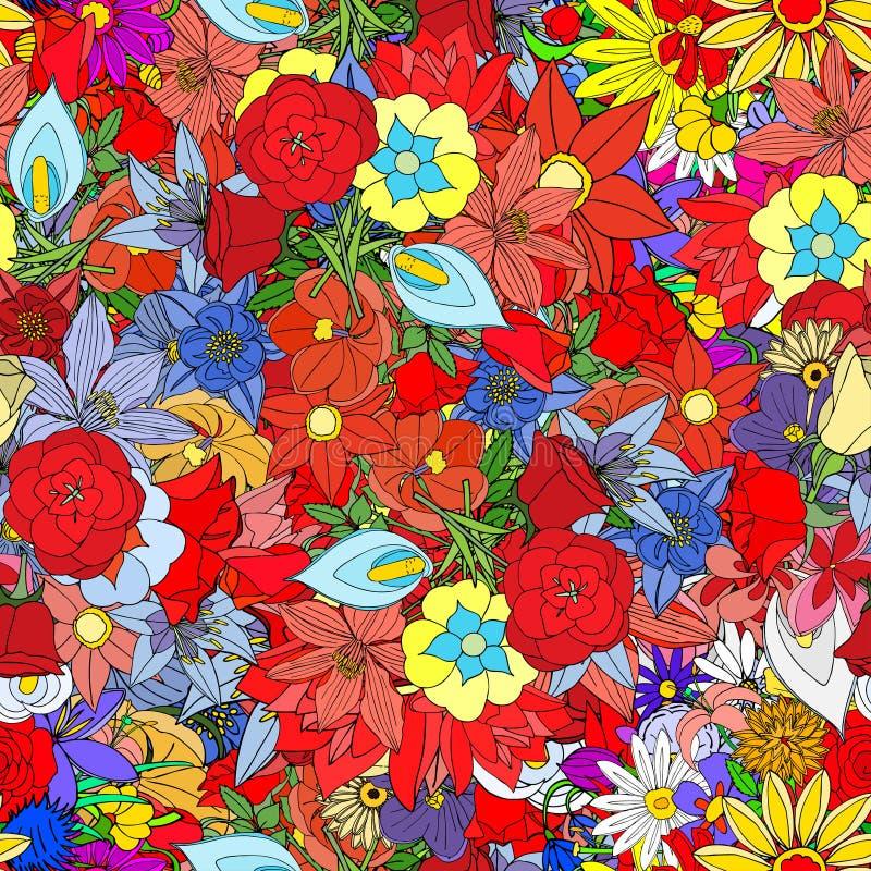 Λουλούδια, άνευ ραφής σχέδιο ελεύθερη απεικόνιση δικαιώματος