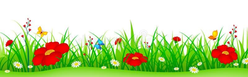 Λουλούδια άνοιξη και επιγραφή χλόης απεικόνιση αποθεμάτων