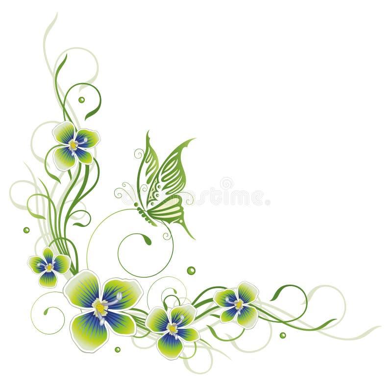 Λουλούδια, άνοιξη, πεταλούδα διανυσματική απεικόνιση