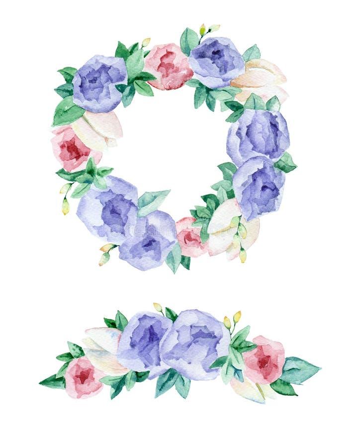 Λουλούδια γιρλαντών Watercolor απεικόνιση αποθεμάτων
