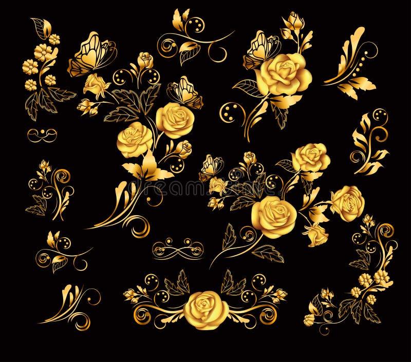 Λουλούδια Διανυσματική απεικόνιση με τα χρυσά τριαντάφυλλα χαρασμένος δέσμη τρύγος σταφυλιών διακοσμήσεων ξύλινος Διακοσμητικός,  ελεύθερη απεικόνιση δικαιώματος