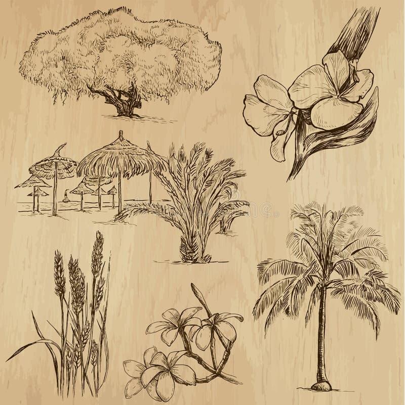 Λουλούδια και δέντρα, πακέτο no.3 διανυσματική απεικόνιση