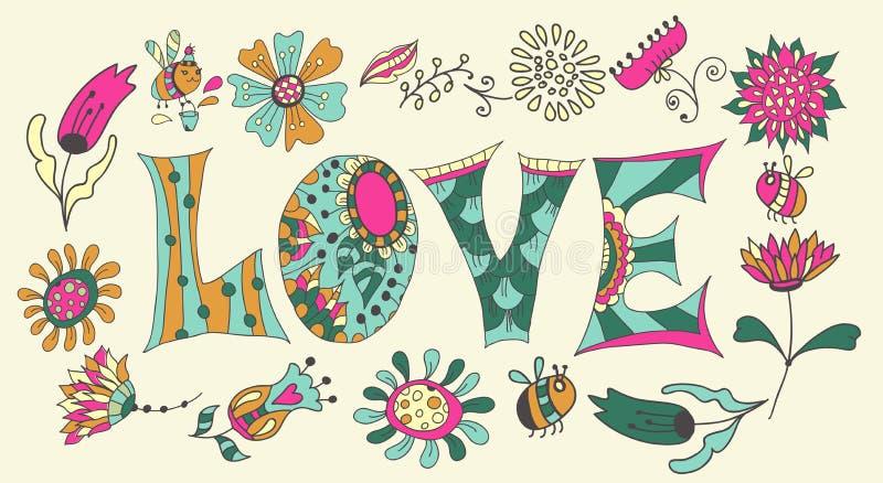 Λουλούδια και επιστολές χρώματος - αγάπη ελεύθερη απεικόνιση δικαιώματος