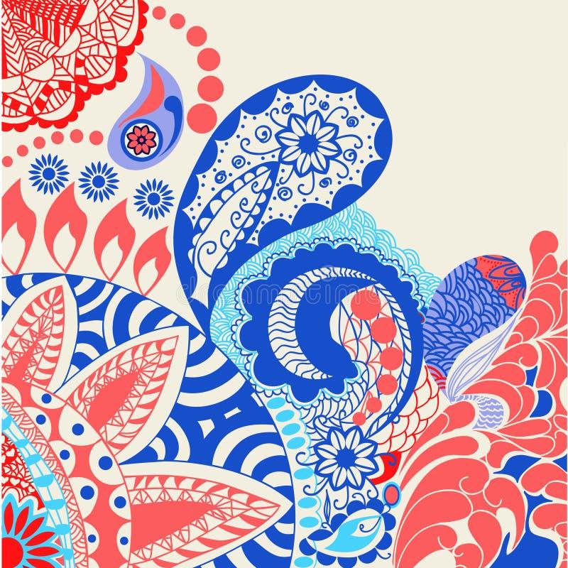 Λουλούδια και διακοσμητικό ζωηρόχρωμο backgroun doodle σχεδίων του Paisley απεικόνιση αποθεμάτων