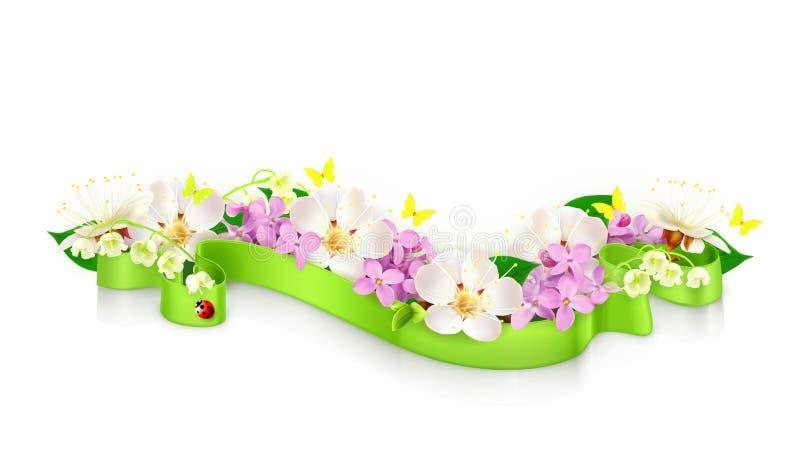 Λουλούδια και κορδέλλα άνοιξη διανυσματική απεικόνιση