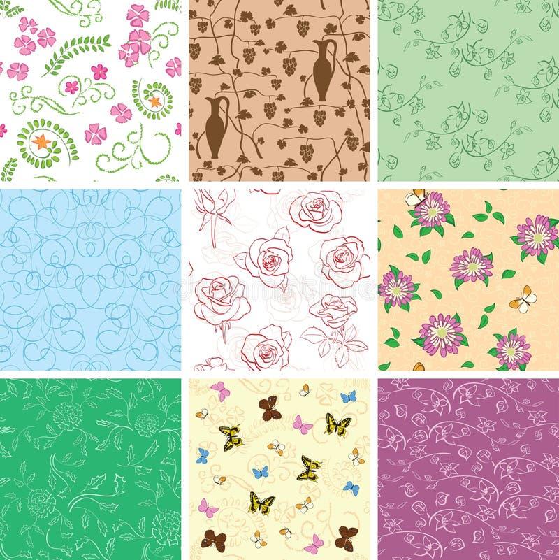 Λουλούδια και πεταλούδες στα άνευ ραφής σχέδια - διανυσματικά υπόβαθρα ελεύθερη απεικόνιση δικαιώματος