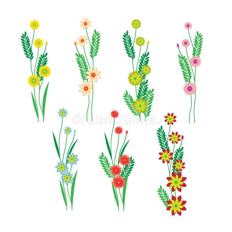 Download Λουλούδια και φύλλα σε ένα άσπρο υπόβαθρο Απεικόνιση αποθεμάτων - εικονογραφία από seamless, διακόσμηση: 62715194