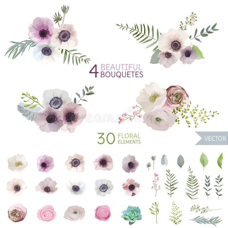 Λουλούδια και φύλλα διανυσματική απεικόνιση