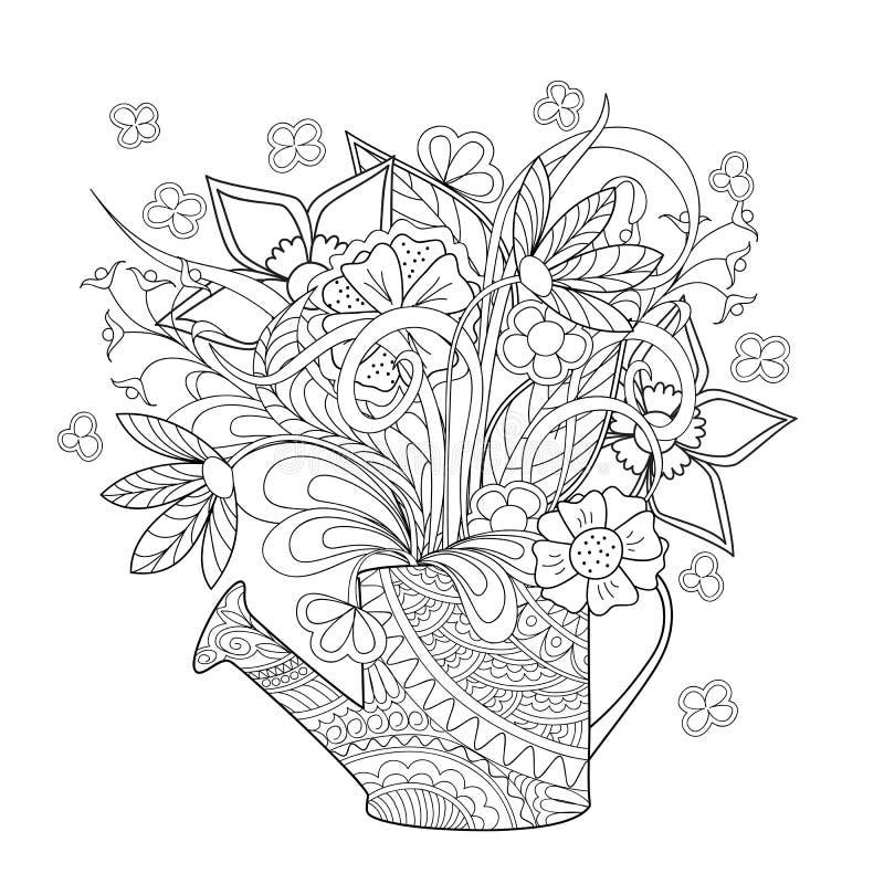 Λουλούδια και χορτάρι Doodle ελεύθερη απεικόνιση δικαιώματος