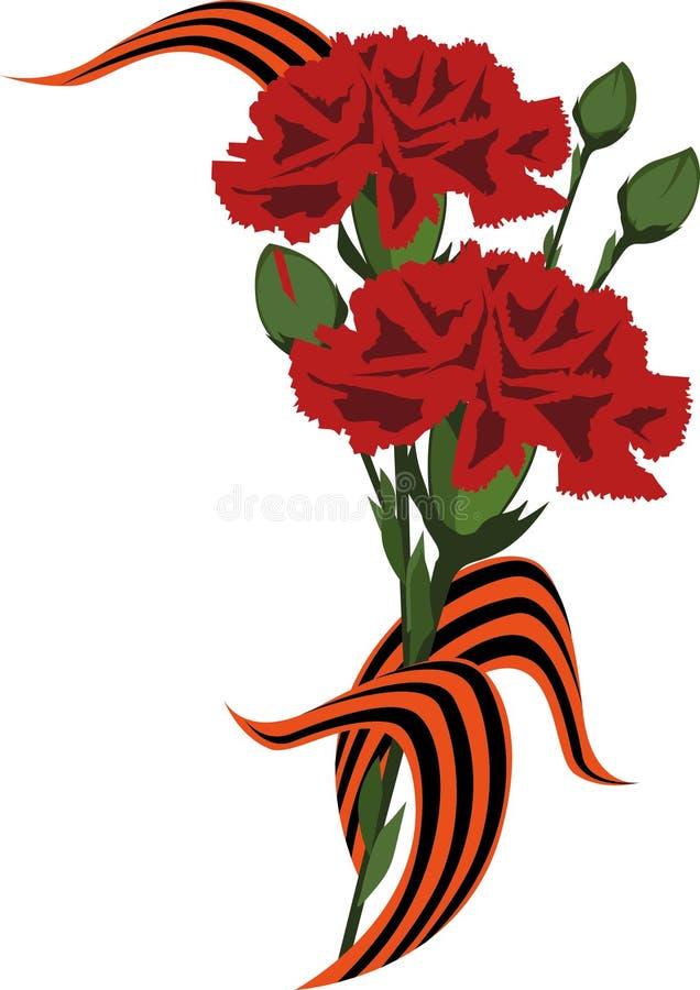 Λουλούδια με μια αναμνηστική κορδέλλα απεικόνιση αποθεμάτων