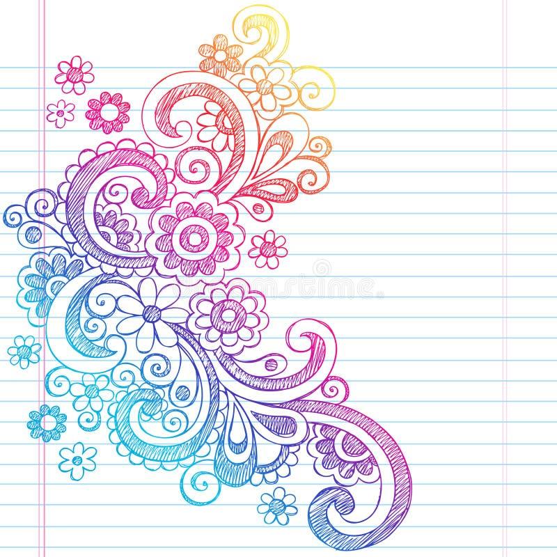Λουλούδια περιγραμματικά πίσω στο σχολείο Doodle διανυσματικό Illus απεικόνιση αποθεμάτων