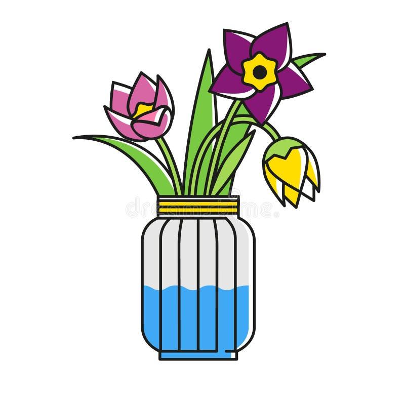 Λουλούδια σε ένα βάζο γυαλιού Νάρκισσοι, τουλίπες, φανταχτερή ανθοδέσμη στο ύφος της Προβηγκίας Άνετο εγχώριο σύμβολο απεικόνιση αποθεμάτων