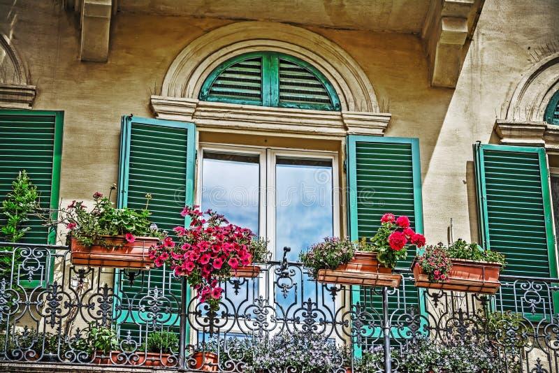 Λουλούδια σε ένα εκλεκτής ποιότητας μπαλκόνι στη Σιένα στοκ φωτογραφίες