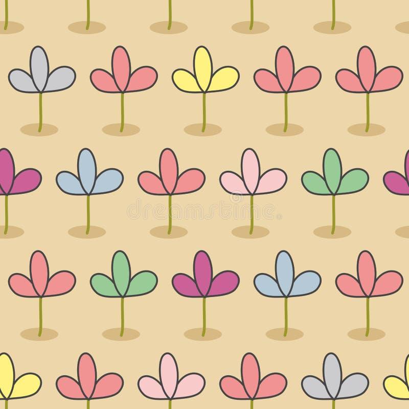 Λουλούδια σε ένα κρεβάτι Άνευ ραφής floral σχέδιο κήπων Νεαροί βλαστοί χρώματος απεικόνιση αποθεμάτων