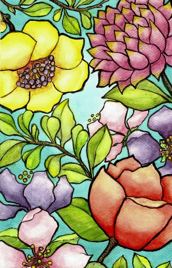 Λουλούδια σε Watercolor διανυσματική απεικόνιση