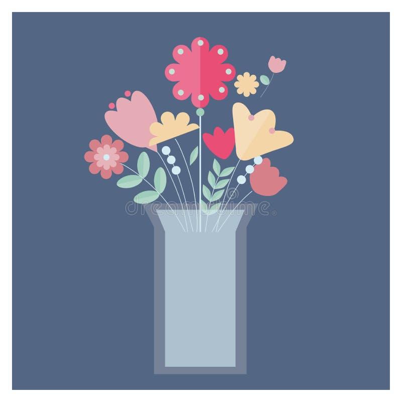 Λουλούδια στην αφηρημένη διανυσματική απεικόνιση βάζων διανυσματική απεικόνιση