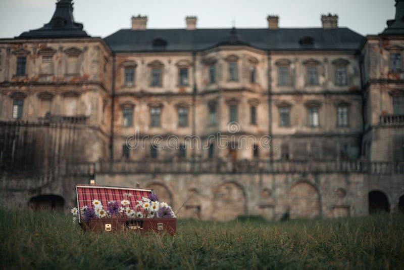 Λουλούδια στη βαλίτσα ενάντια στο σκηνικό του αρχαίου κάστρου στοκ φωτογραφία με δικαίωμα ελεύθερης χρήσης