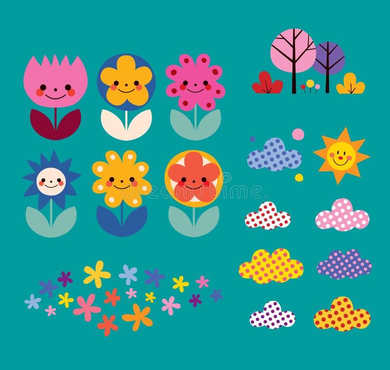 Λουλούδια, σύννεφα, στοιχεία σχεδίου φύσης καθορισμένα ελεύθερη απεικόνιση δικαιώματος