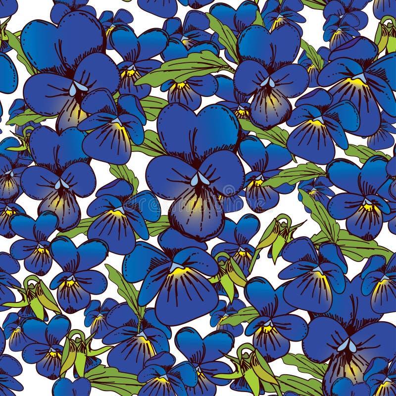 Λουλούδια των άνευ ραφής μπλε σχεδίων υποβάθρου pansies και φύλλων απεικόνιση αποθεμάτων