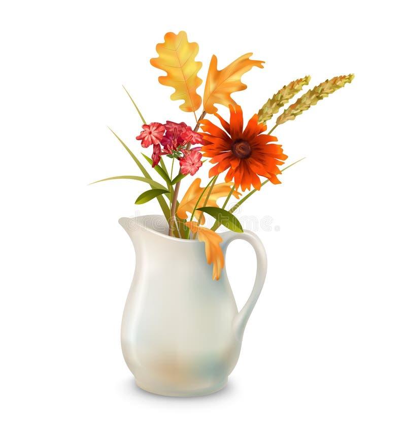 Λουλούδια φθινοπώρου στην κανάτα διανυσματική απεικόνιση
