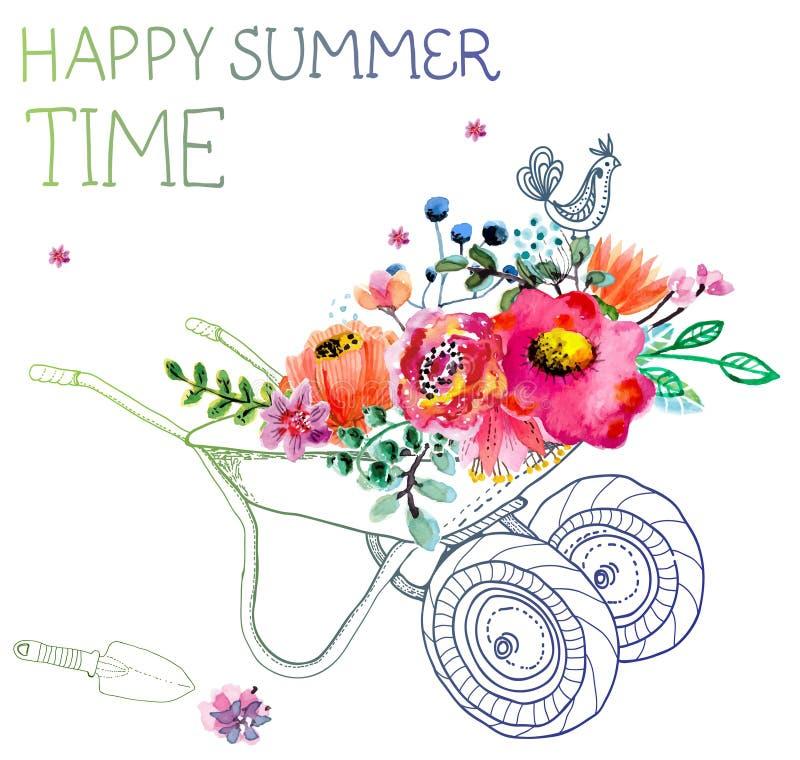 Λουλούδια Watercolor και καροτσάκι κήπων απεικόνιση αποθεμάτων