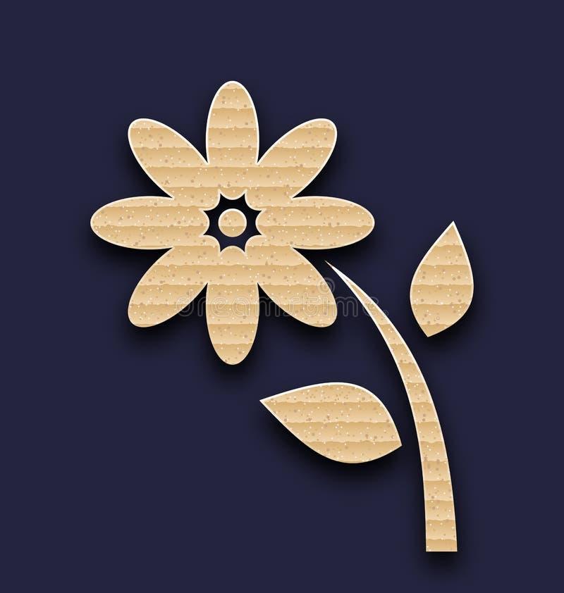 Λουλούδι εγγράφου χαρτοκιβωτίων, χειροποίητο υπόβαθρο διανυσματική απεικόνιση