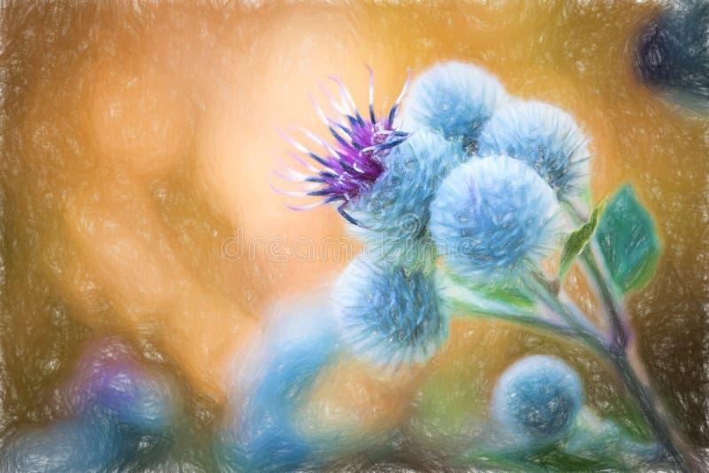 Λουλούδι ζωγραφικής κρητιδογραφιών - άνθισμα μεγάλο Burdock απεικόνιση αποθεμάτων
