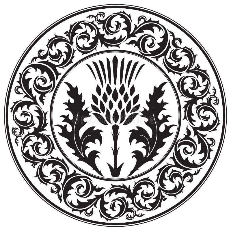 Λουλούδι και διακόσμηση κάρδων γύρω από τον κάρδο φύλλων Το σύμβολο της Σκωτίας ελεύθερη απεικόνιση δικαιώματος