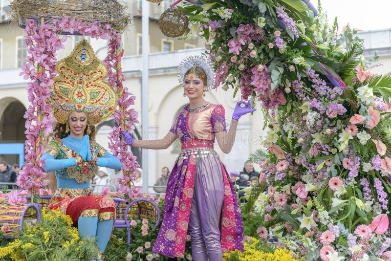 Λουλούδι καρναβάλι στη Νίκαια, Γαλλία στοκ φωτογραφία με δικαίωμα ελεύθερης χρήσης