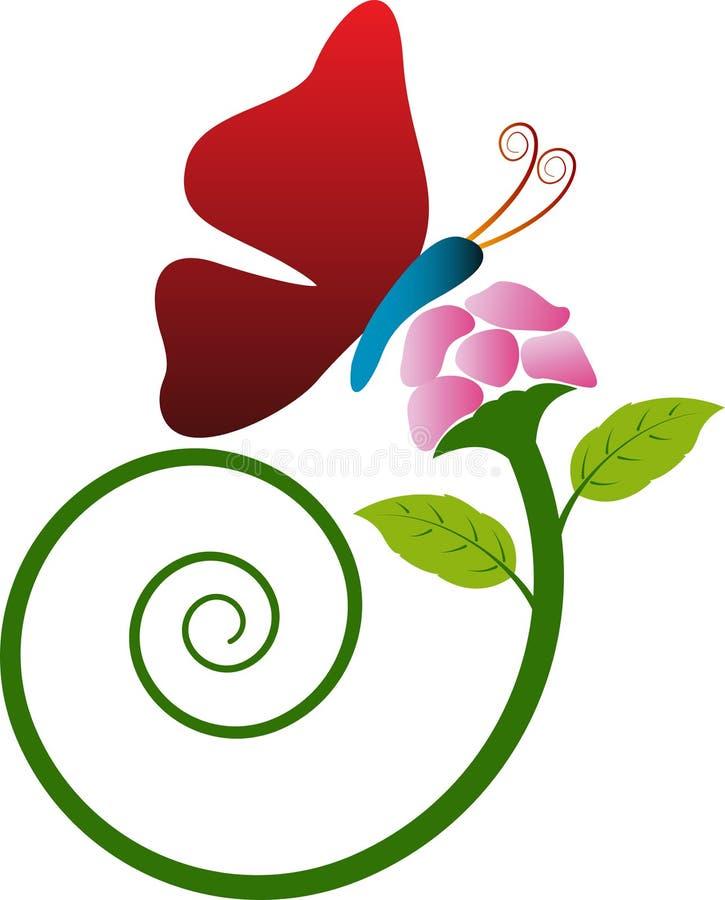 Λουλούδι με την πεταλούδα διανυσματική απεικόνιση