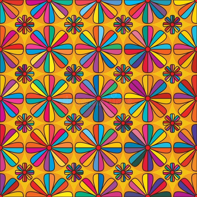 Λουλούδι οκτώ ζωηρόχρωμο άνευ ραφής σχέδιο ακρών διανυσματική απεικόνιση