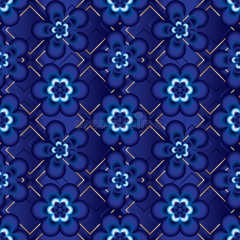 Λουλούδι πέντε ιαπωνικό μπλε άνευ ραφής σχέδιο έξι ελεύθερη απεικόνιση δικαιώματος