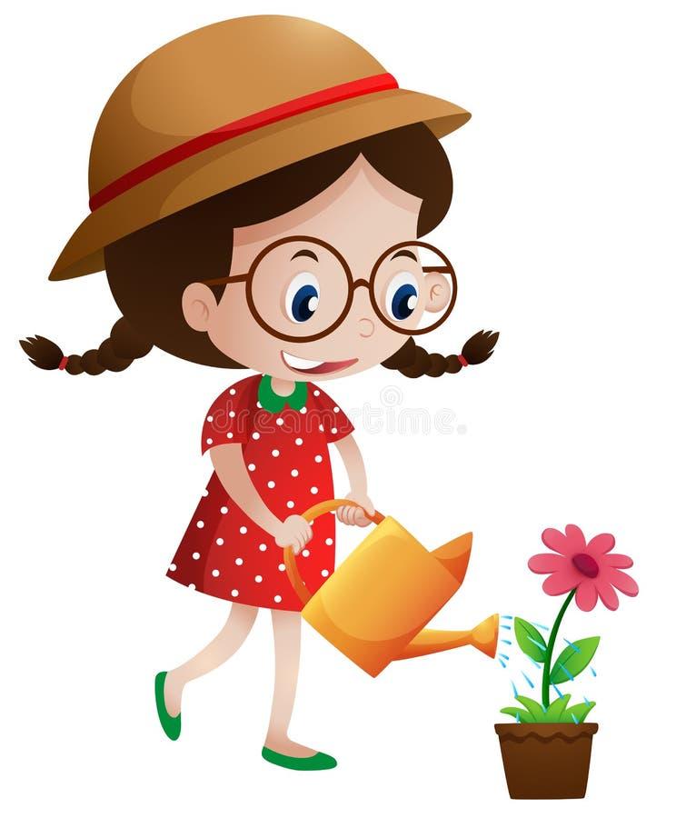 Λουλούδι ποτίσματος μικρών κοριτσιών διανυσματική απεικόνιση