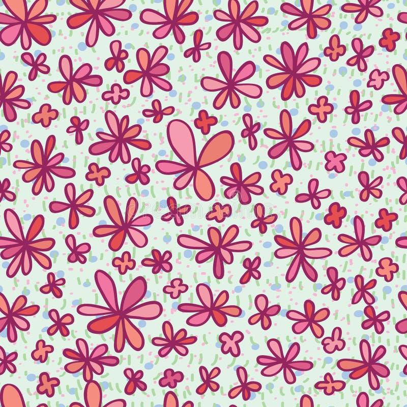 Λουλούδι που σύρει το ρόδινο άνευ ραφής σχέδιο ελεύθερη απεικόνιση δικαιώματος