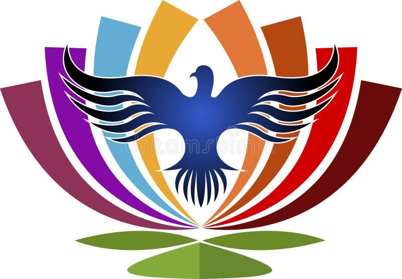 Λουλούδι στο λογότυπο πουλιών διανυσματική απεικόνιση