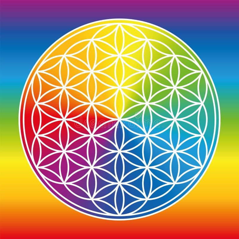Λουλούδι της ρόδας χρώματος κλίσης ουράνιων τόξων ζωής διανυσματική απεικόνιση