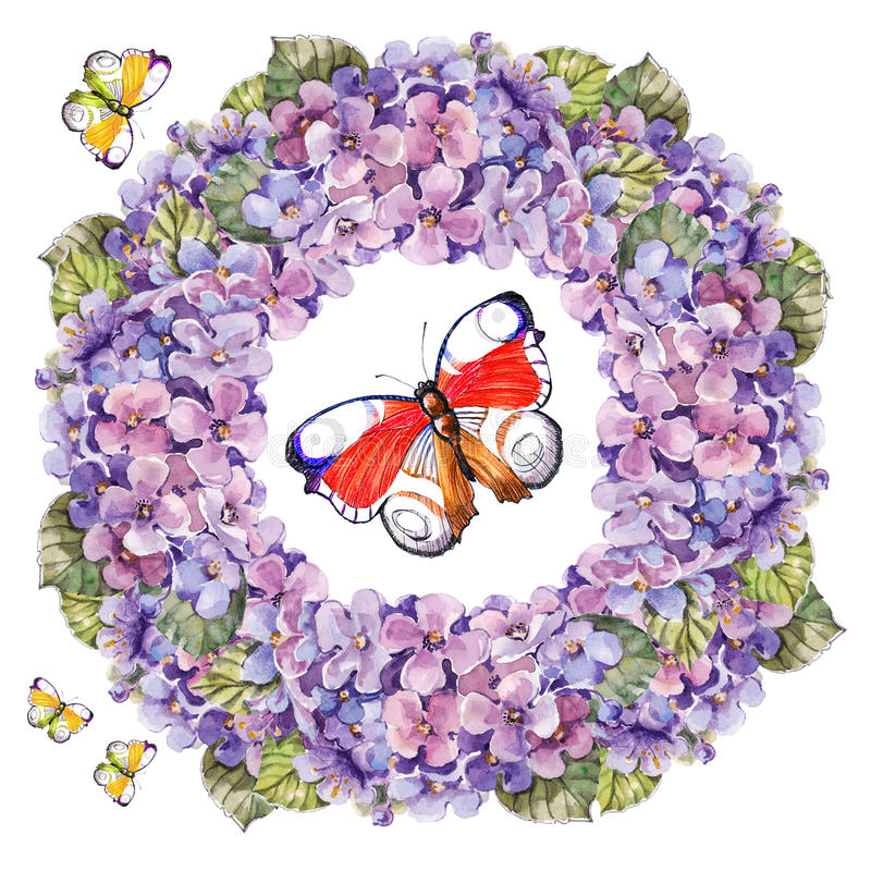 Λουλούδι hydrangea ανθοδεσμών, watercolor γιρλαντών πεταλούδων απεικόνιση αποθεμάτων