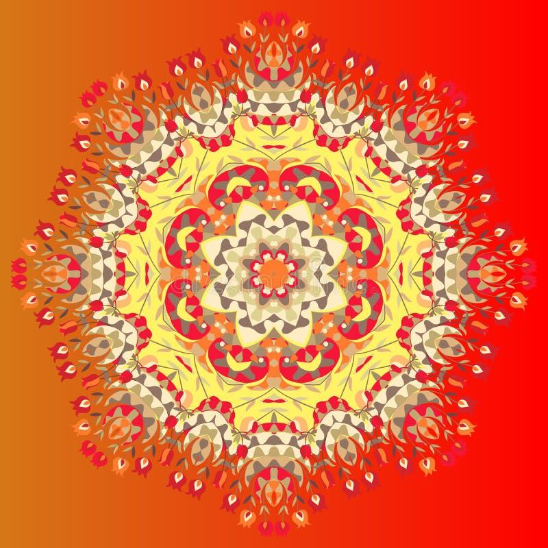 Λουλούδι Mandala Διανυσματική απεικόνιση του ζωηρόχρωμου σαλιού Διακοσμητικό μαντίλι λαιμών bandana ή μεταξιού διανυσματική απεικόνιση