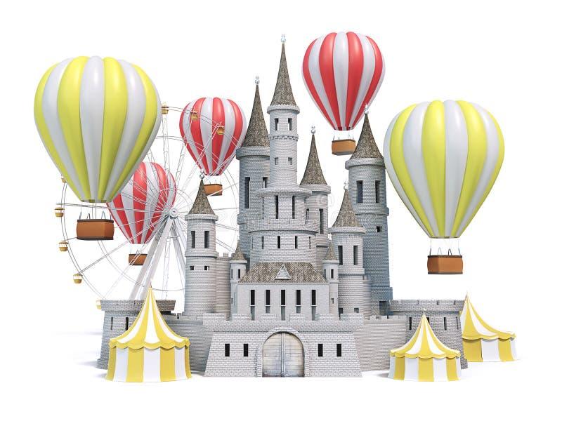 Λούνα παρκ, καρναβάλι, έκθεση διασκέδασης, τσίρκο, φεστιβάλ σκηνής ημέρας τρισδιάστατος δώστε ελεύθερη απεικόνιση δικαιώματος