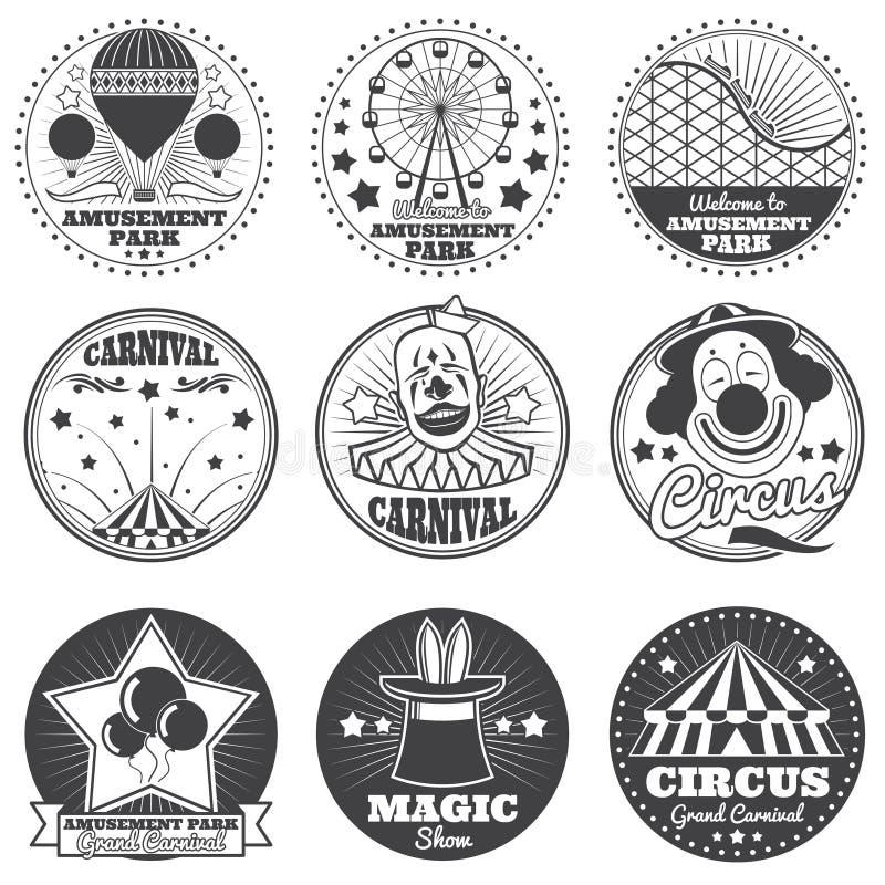 Λούνα παρκ, τσίρκο και διανυσματικές εκλεκτής ποιότητας εμβλήματα και ετικέτες καρναβαλιού διανυσματική απεικόνιση