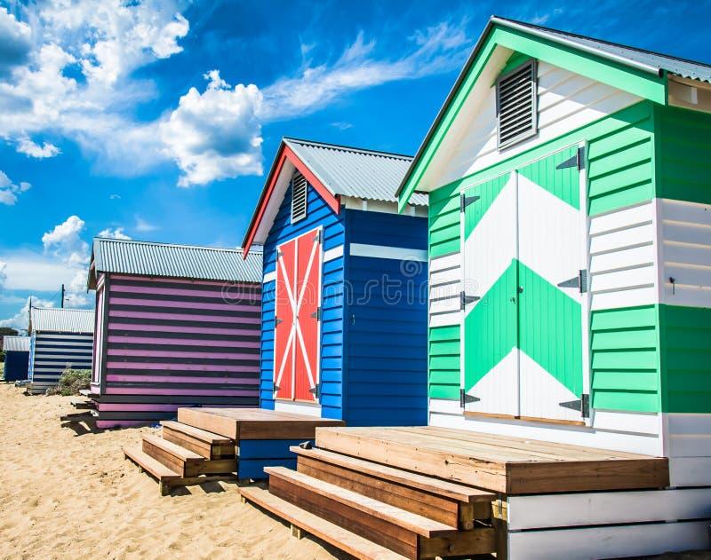 Λούσιμο των σπιτιών στην παραλία του Μπράιτον, Αυστραλία στοκ εικόνα