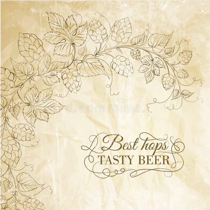 Λυκίσκος και νόστιμη μπύρα πέρα από το παλαιό έγγραφο. διανυσματική απεικόνιση