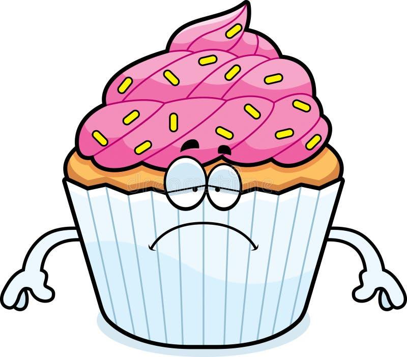 Λυπημένα κινούμενα σχέδια Cupcake ελεύθερη απεικόνιση δικαιώματος