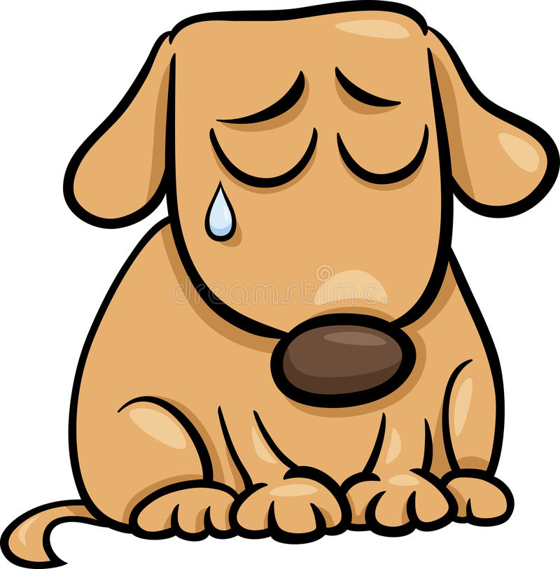 Λυπημένη απεικόνιση κινούμενων σχεδίων σκυλιών απεικόνιση αποθεμάτων