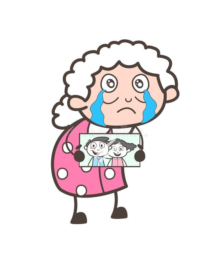 Λυπημένη γιαγιά που παρουσιάζει στις χαμένες εικόνες εγγονιών τους διανυσματική απεικόνιση απεικόνιση αποθεμάτων