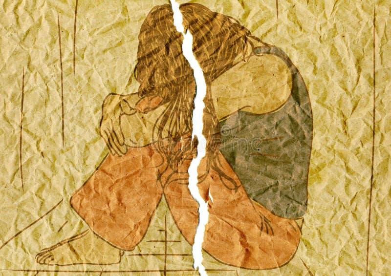 λυπημένη γυναίκα απεικόνιση αποθεμάτων